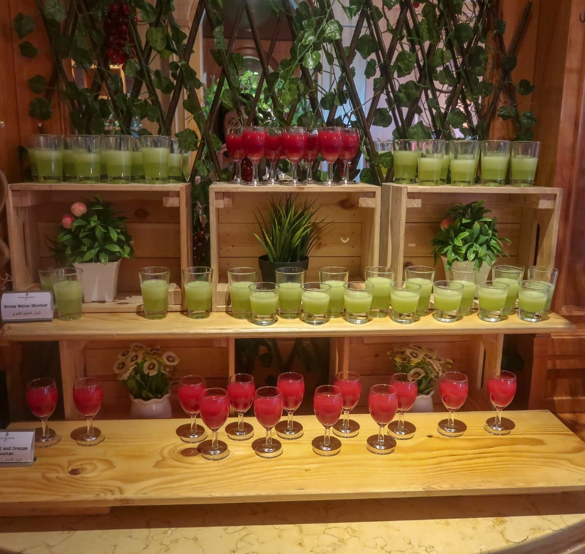 11 incredible things to do in Qatar - display of juices at a Doha brunch