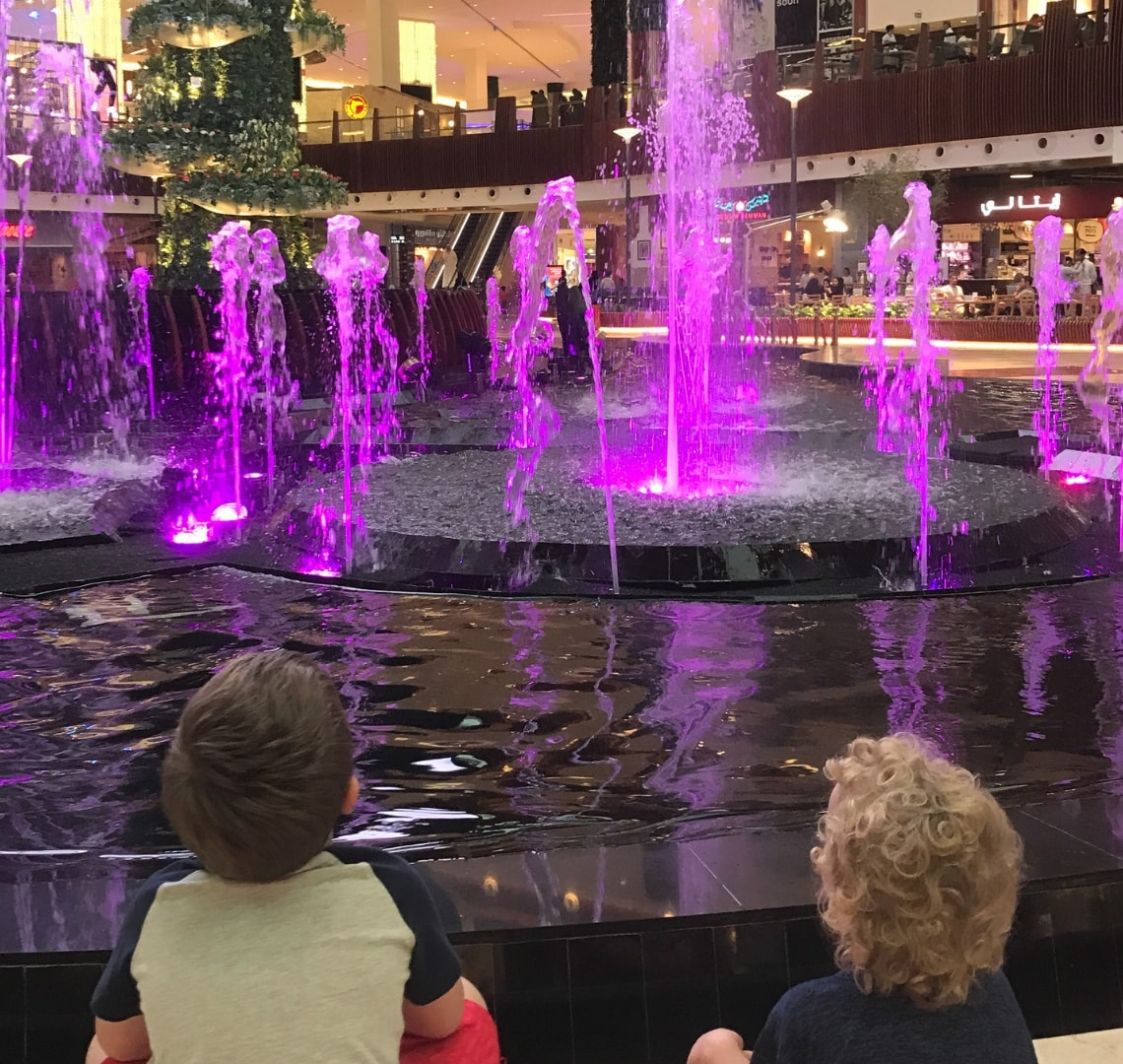11 incredible things to do in Qatar - the Things looking at a light and water display at the fountains in Mall of Qatar