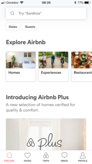 Best Travel Apps - screenshot of Airbnb