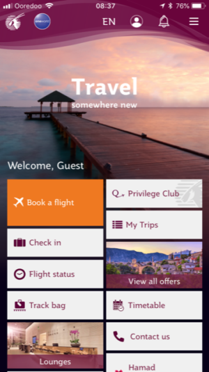 Best Travel Apps - screenshot of Qatar Airways app