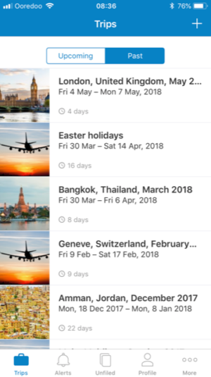 Best Travel Apps - screenshot of Tripit