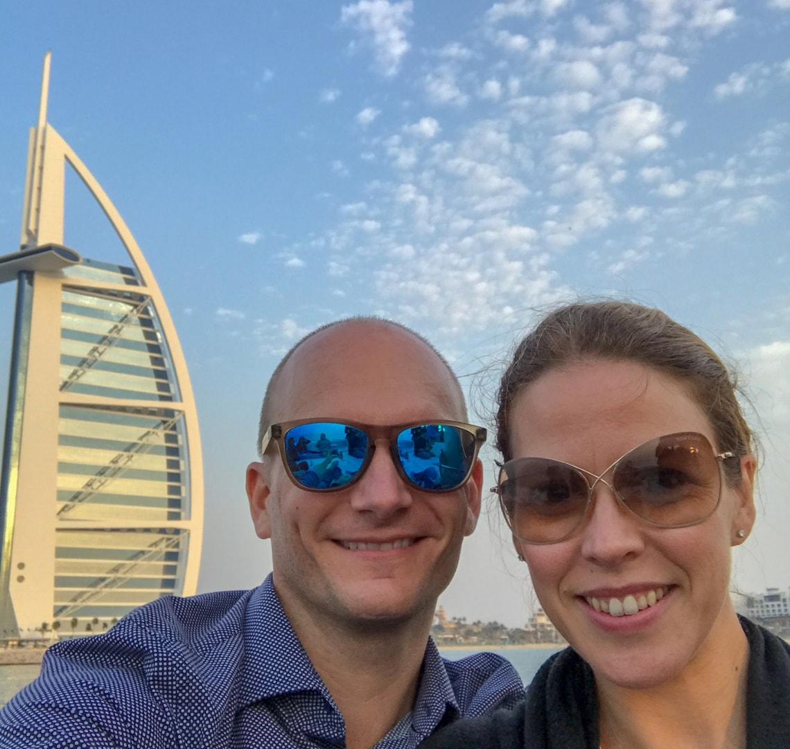 Expat wife - being an expat wife has opened up opportunities that I would never have had. Here are me and Mr Wanderlust taking a selfie in front of the Burj Al Arab