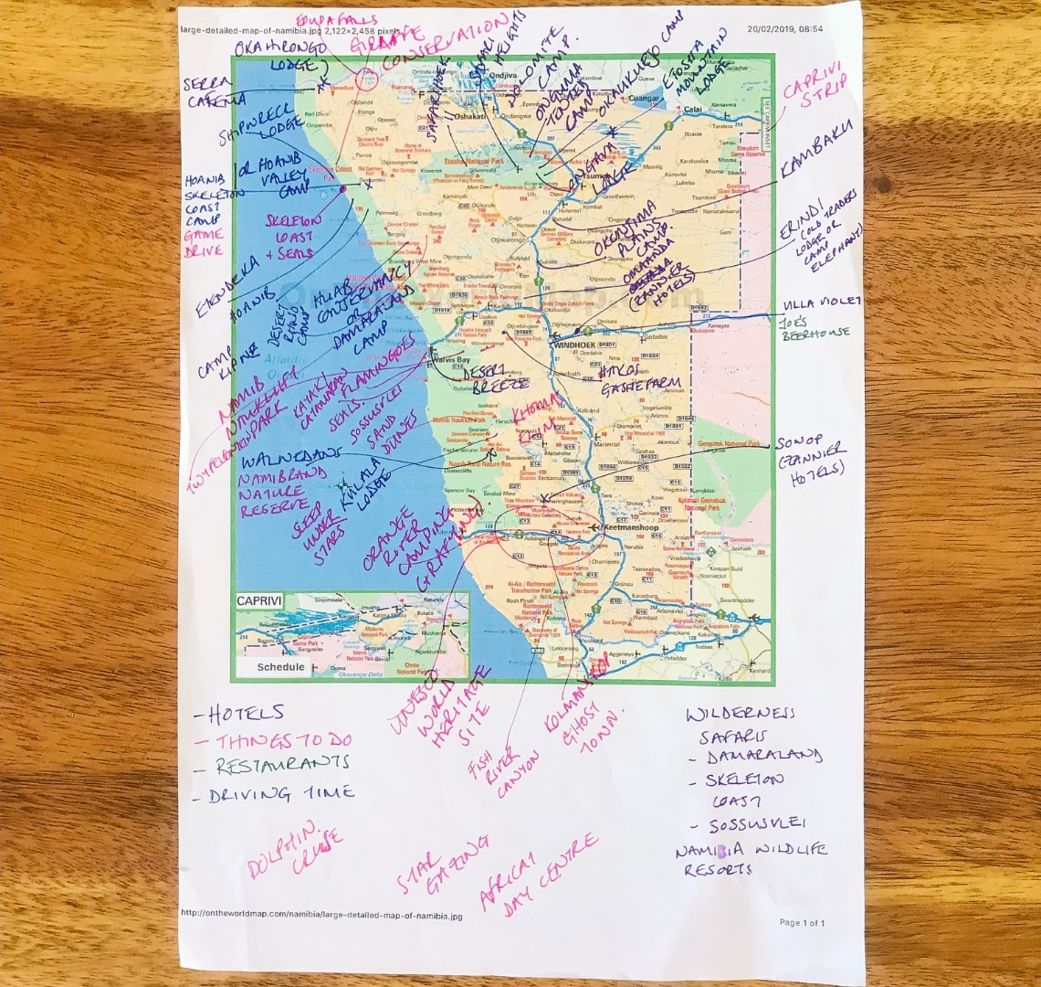 Namibia reading - a map of Namibia annotated in colour coded segments
