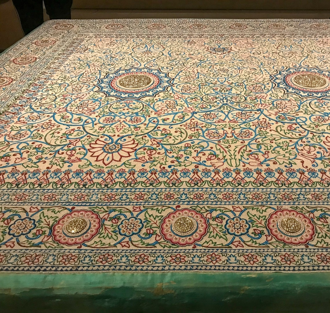 National Museum of Qatar - large view of the Pearl Carpet of Baroda which is encrusted with tiny pearls