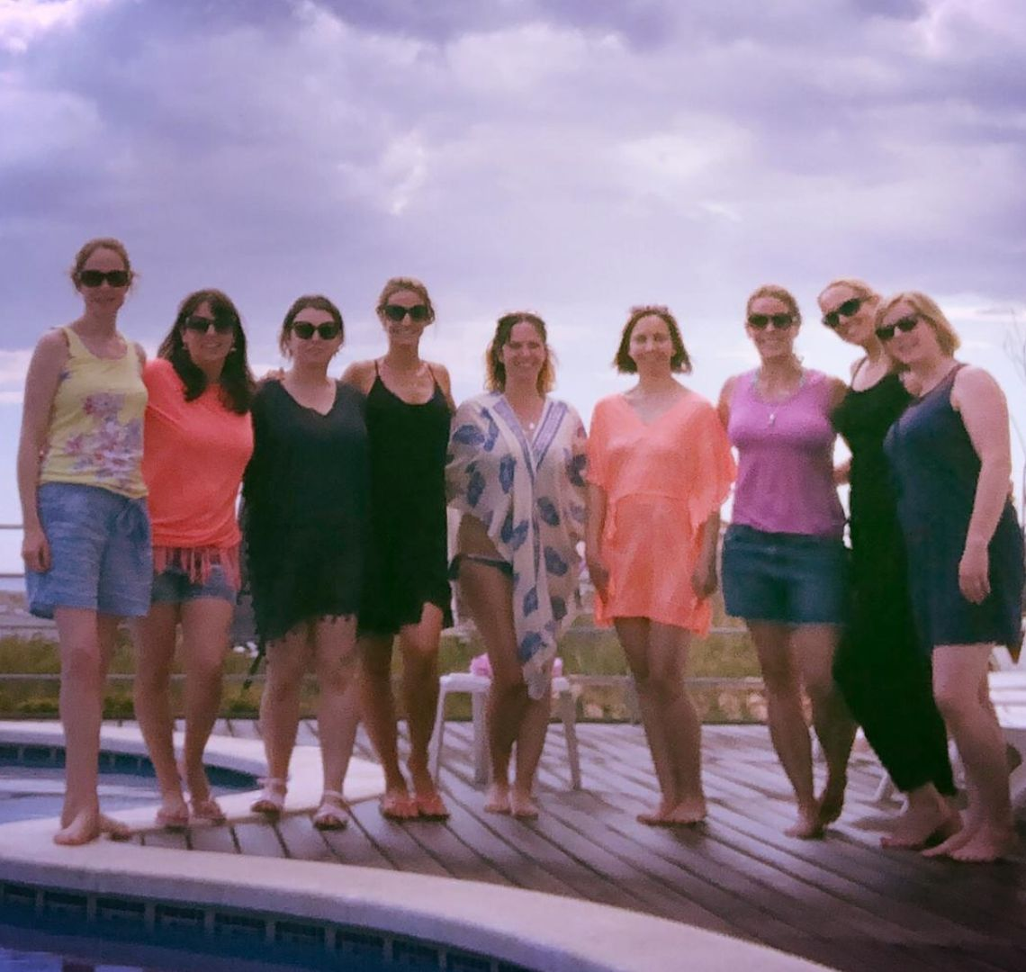 My girls - me and my 9 friends in a grainy image by the pool. I feel it represents us perfectly!