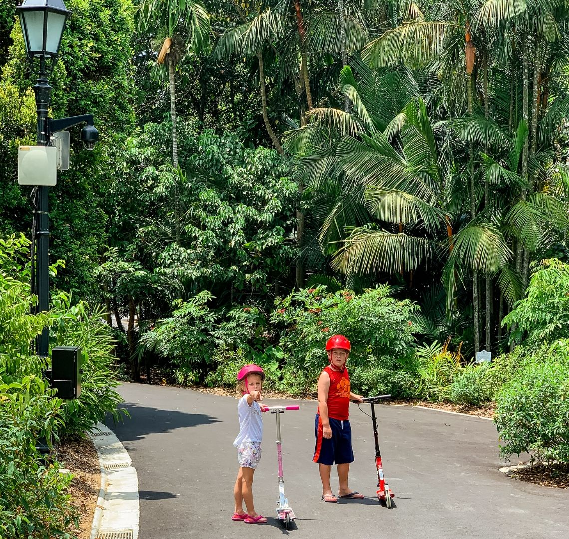 Back from a break - the Things stood waiting for me on their scooters on a oath in Singapore's Botanical Gardens