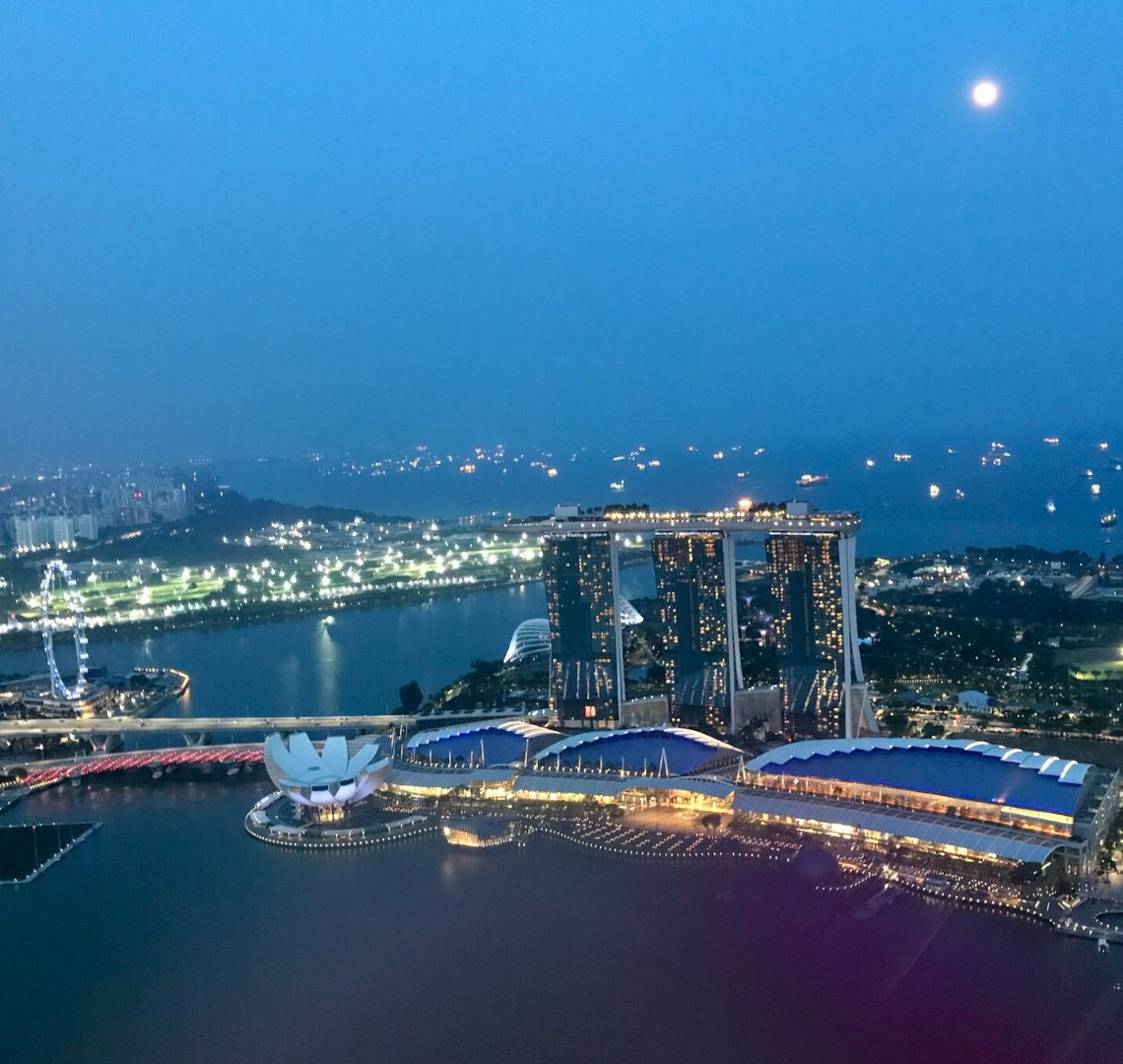 Things To Eat In Singapore With Kids - sky view of Marina Bay at night. The Singapore Flyer, Art Science Museum and Marina Bay sands are all clearly visible just past a small stretch of water. Behind the, is more water and the next piece of land which is brightly lit. In the sea behind you can see the lights from the container ships that are at anchor there. There is a bright full moon shining in the top right hadn't corner