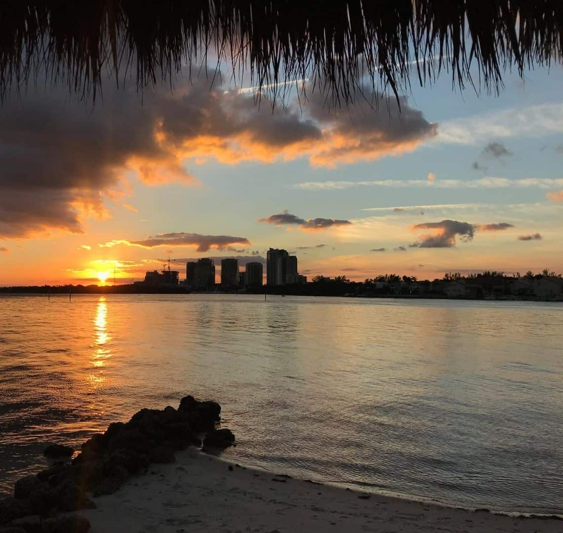 The top of the image is fringed with the silhouette of palm leaves from an over hanging tree. On the horizon is the silhouette of high rise buildings separated from the tiny stretch of sand at teh bottom of the image by a still expanse of water. The water is like liquid mercury and reflects the darkening sky and the sunset on the left of the buildings. there are a few whiny shadowy clouds above the horizon and some thicker ones to the left of the image.