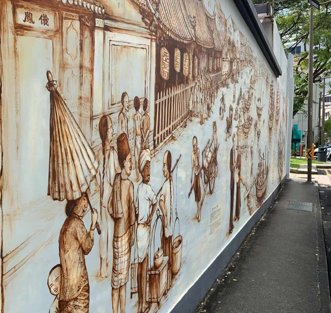 Sepia coloured wall mural by Yip Yew  Chong depicting life at the waterfront