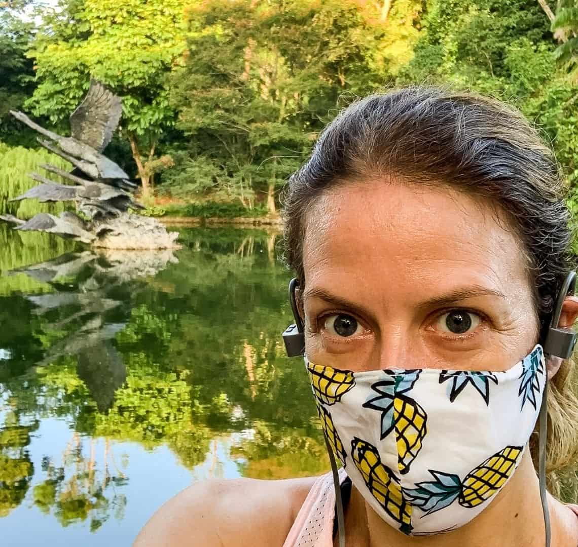 Selfie of me in the botanic gardens. I'm wearing a white mask with pineapples on it. Behind me is lots of greenery both real and reflected in a lake. There is a statue of three swans taking flight in the middle of the lake.