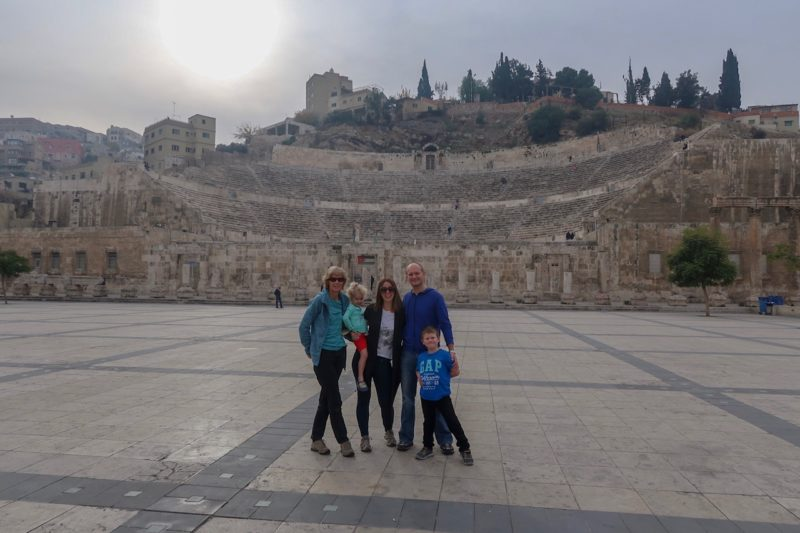 7 Things We Loved About Jordan - the Wanderlust family in front of The theatre in Amman