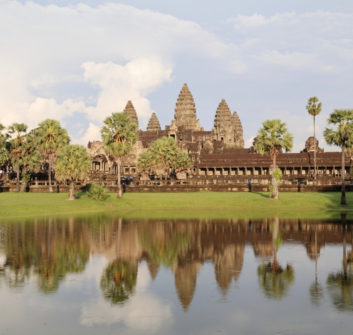 Best family holiday destinations - view of Angkor Was from over the water