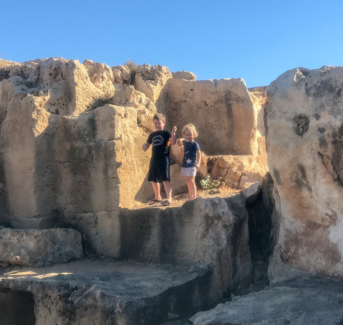 Best family holiday destinations - the Things dancing like crazies in the Paphos ruins