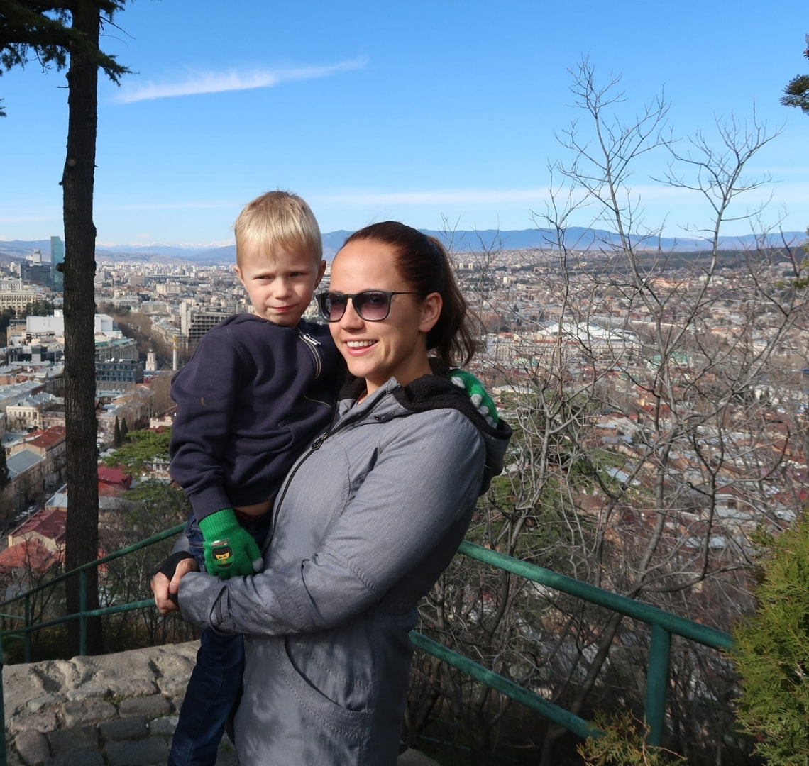 Best family holiday destinations - Laura from Life With Baby Kicks and her son in Tblisi