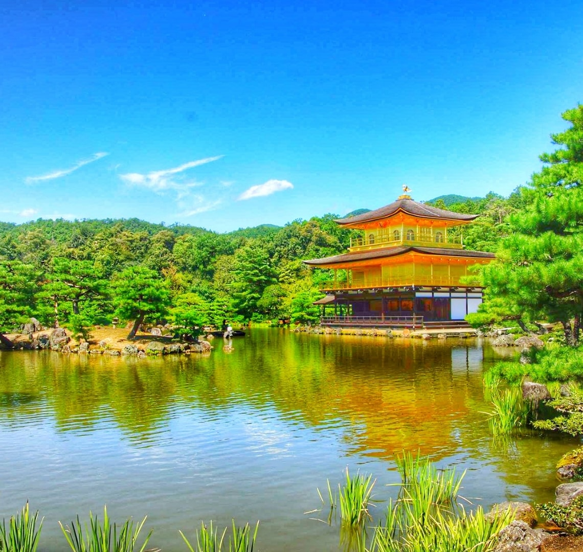 Best family holiday destinations - Japanese temple right next to a lake on a beautiful day
