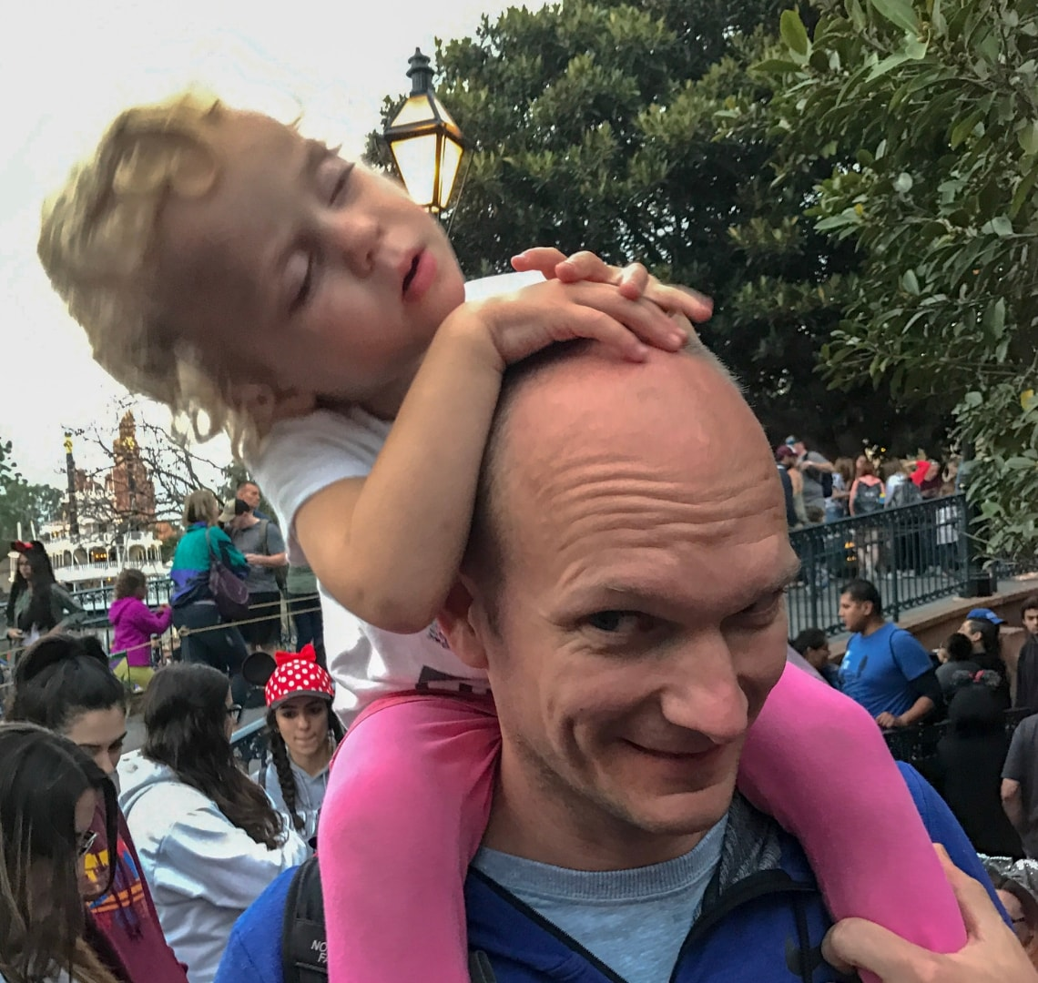 Disney - Thing 2 asleep on Mr Wanderlust's shoulders