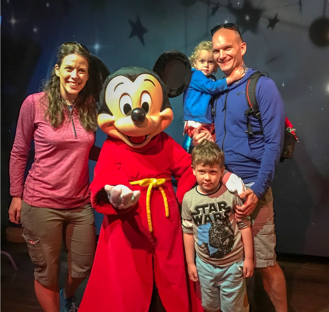 Disney - Wanderlust family with Micky Mouse (and the Things looking a little unsure!)