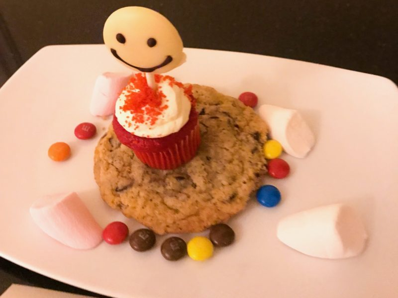 Four Seasons Doha - an enormous cookie, marshmallows, a cupcake, smarties and a chocolate lollipop!