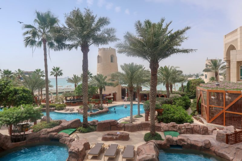 Four Seasons Doha - view across 2 of the 5 swimming pools