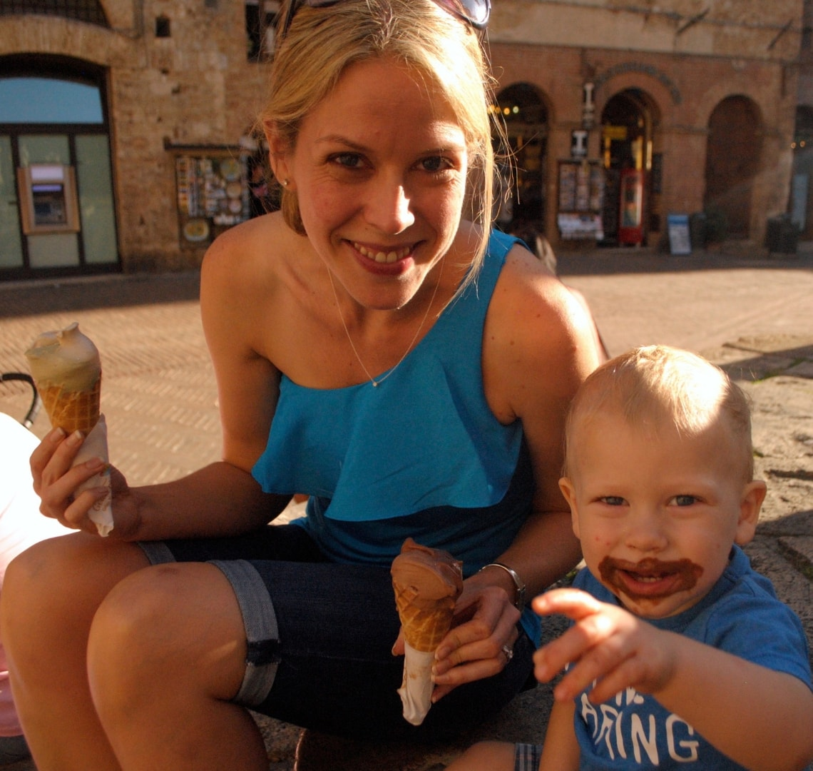 Holiday Planning - me and Thing 1 eating gelato in San Gimignano, Tuscany