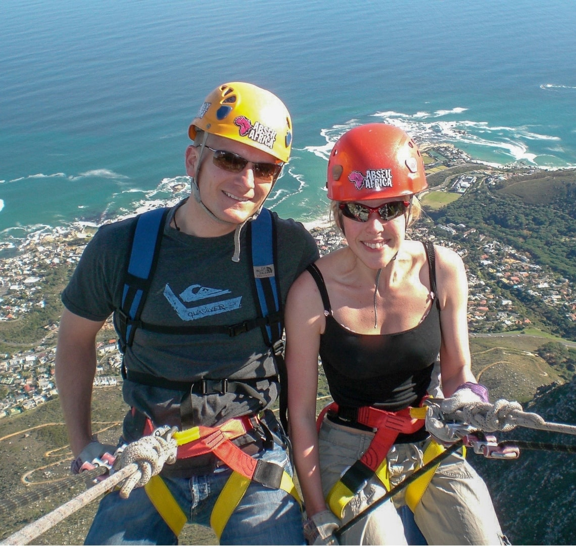How to have an epic family holiday - Mr Wanderlust and I abseiling off table mountain