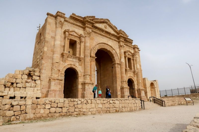 7 Things We Loved About Jordan - me, Granny Wanderlust and the Things in from of Hadrian's Gate at Jerash