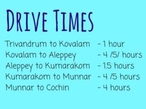 Kerala Drive Times