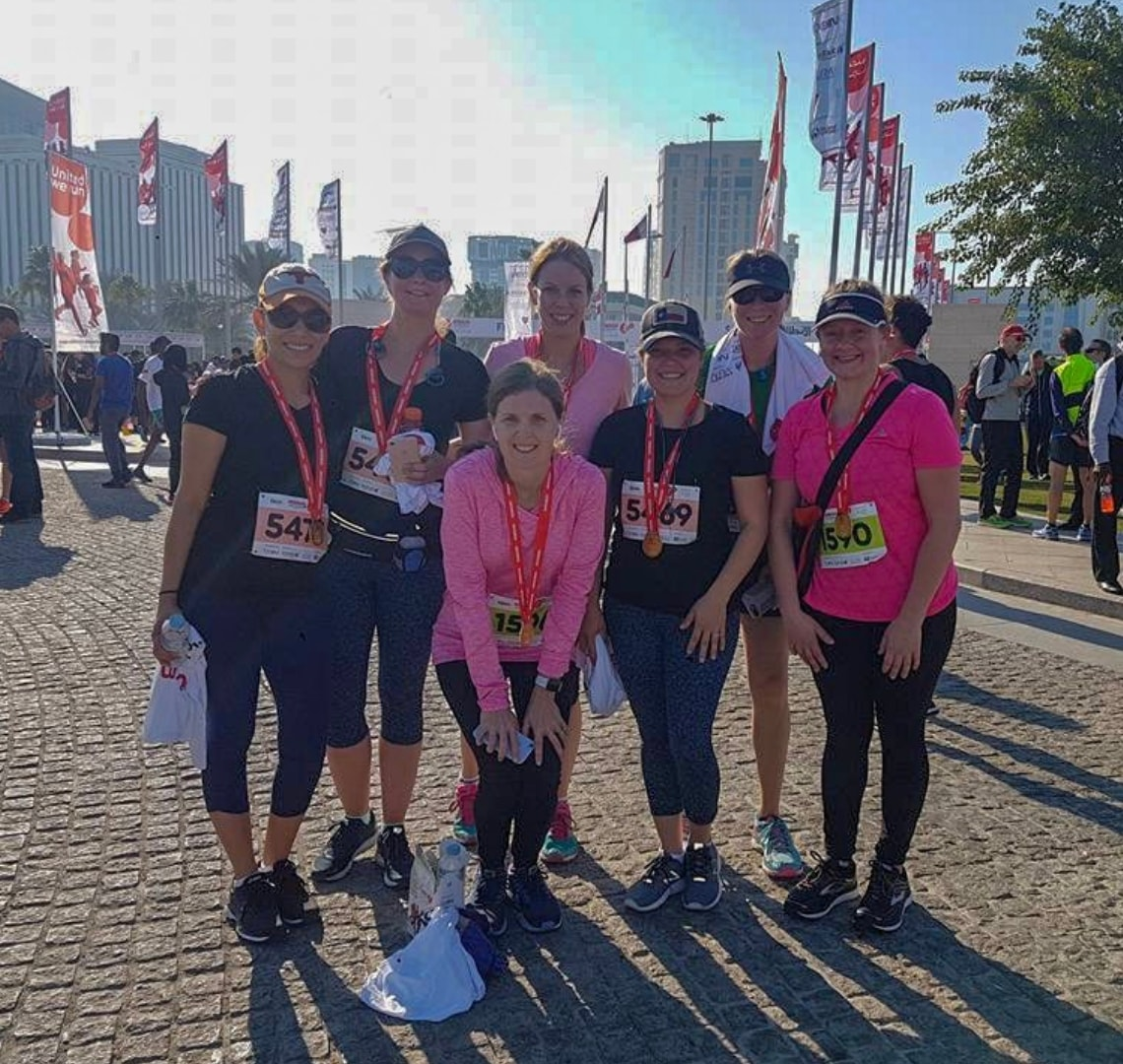 Make friends - me and my running friends after a 10k in Doha