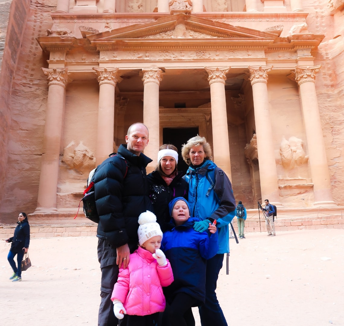 Normal Expat Christmas - Wanderlust family photon front of the Treasury in Petra, Jordan