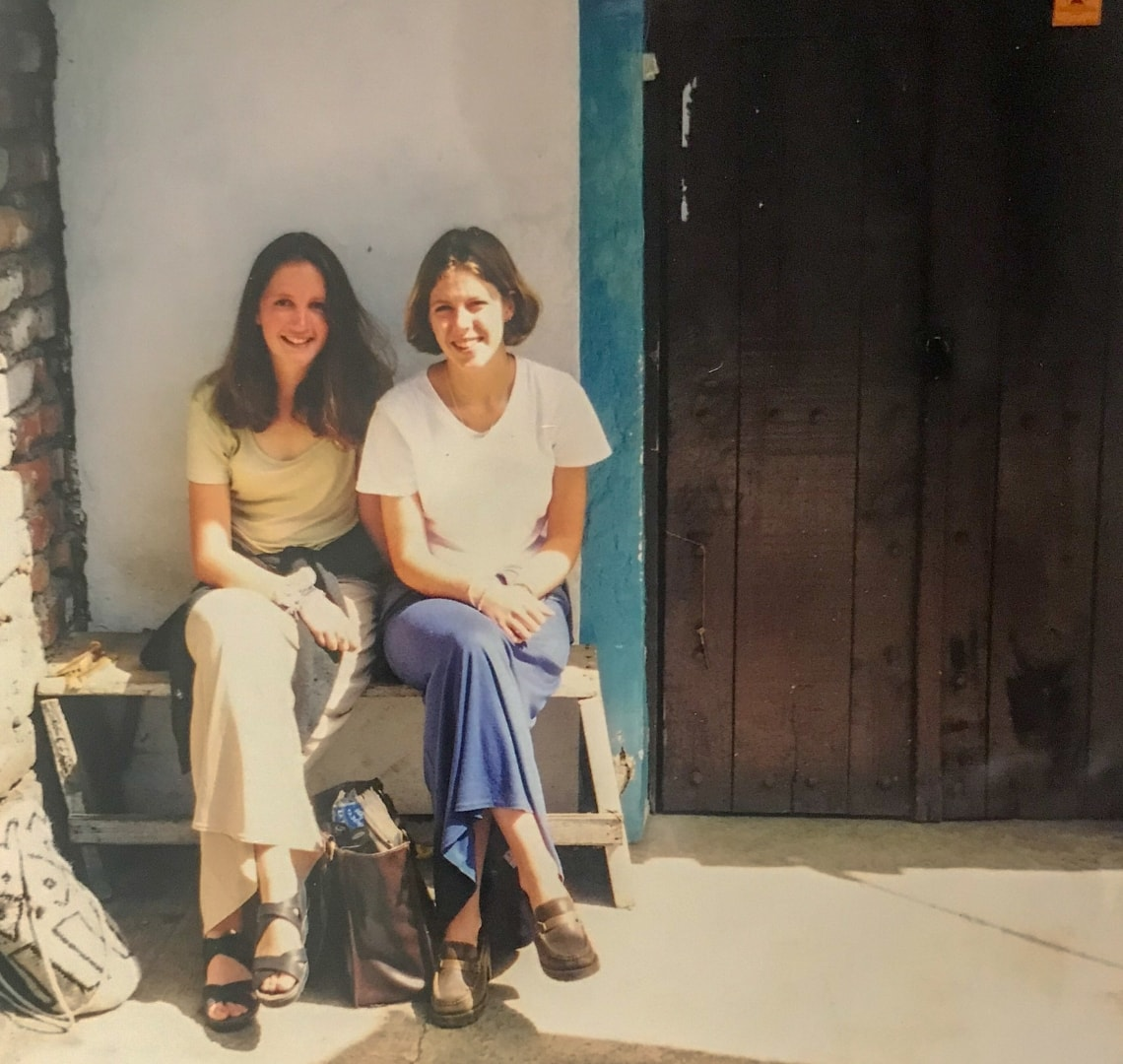 People Who Changed My Life Through Travel - Hillary - my gap year teaching partner and I outside one of the schools we taught in
