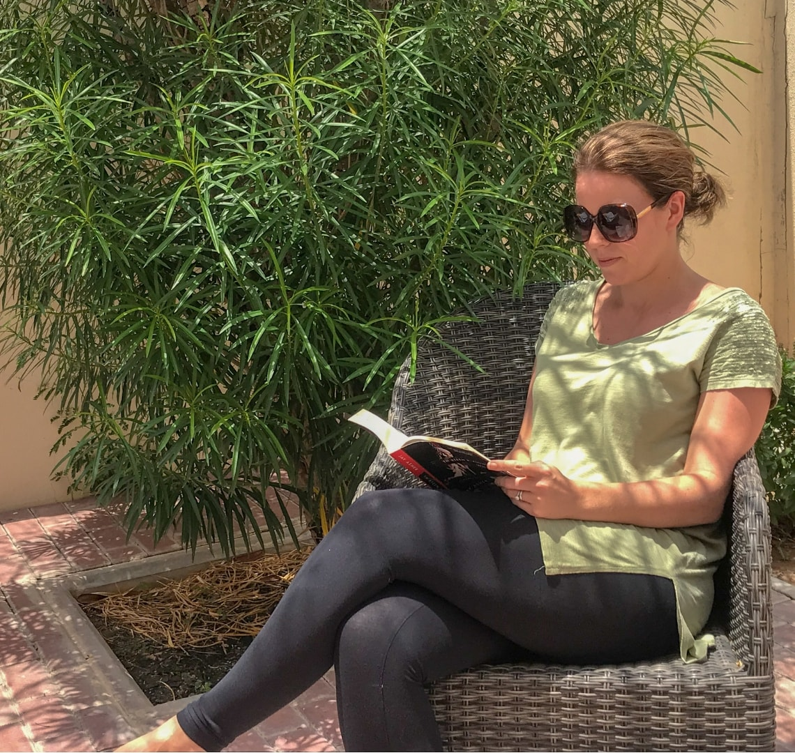 Summer reading - me reading a book outside
