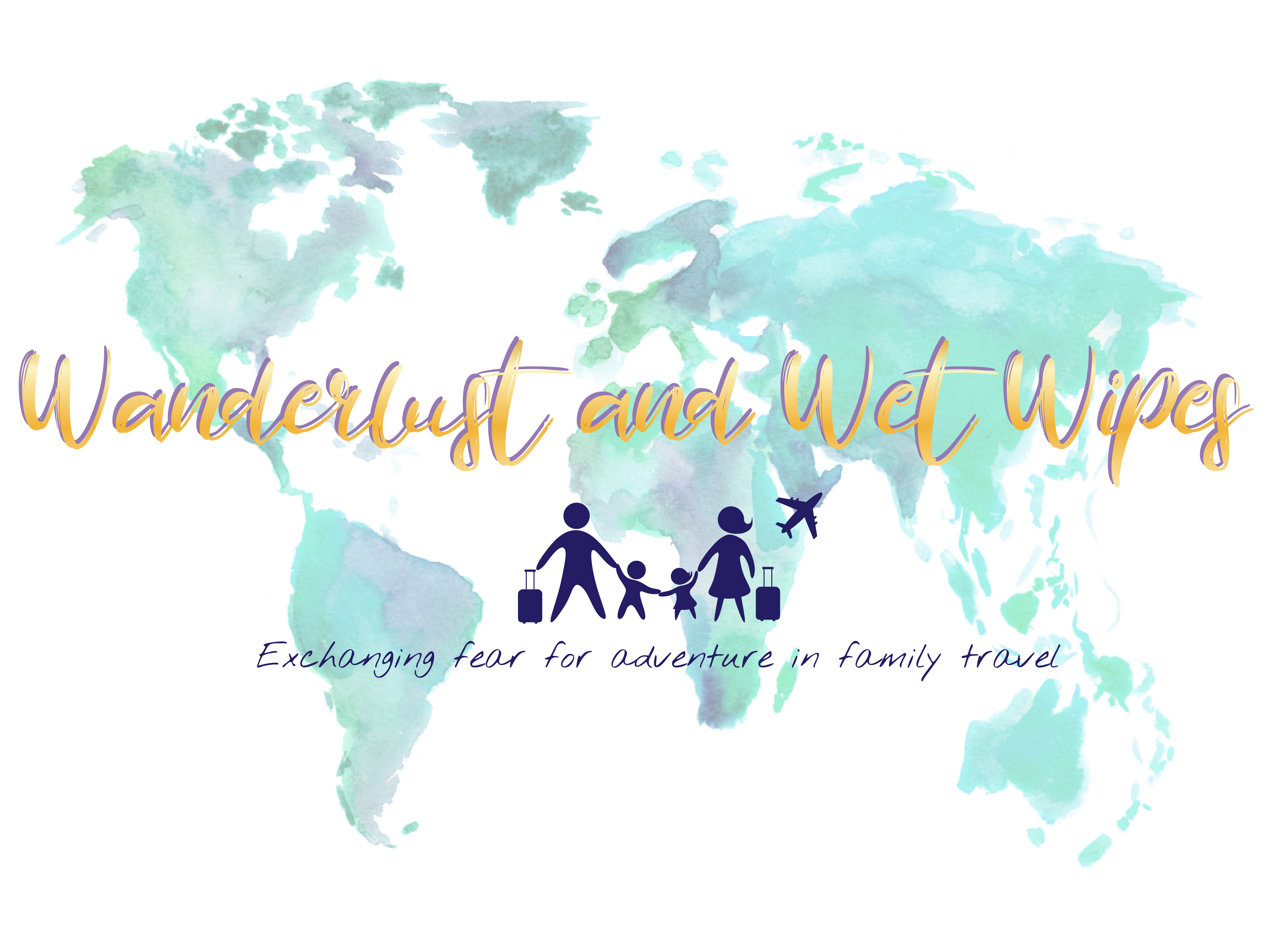Wanderlust and Wet Wipes Gold and Blue Watercolour Map Logo