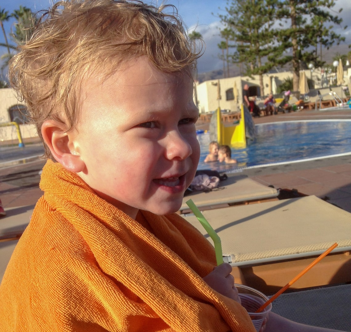 Winter Sun - Thing 1 after a swim in Gran Canaria