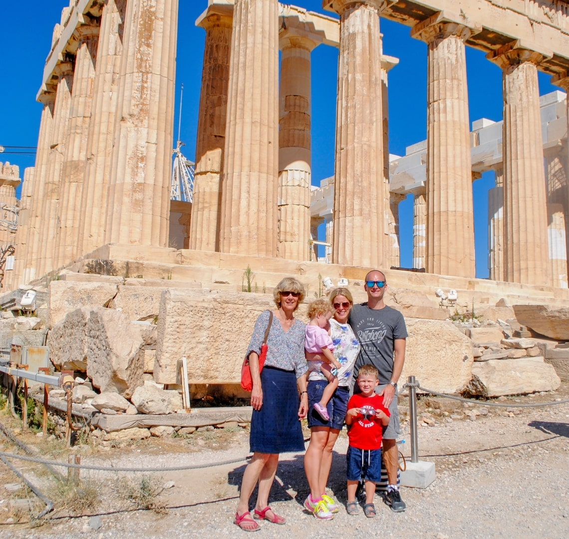 Winter Sun - Wanderlust family with Granny Wanderlust at the Parthenon