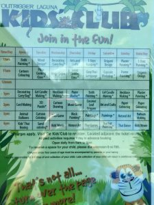 Kids club itinerary