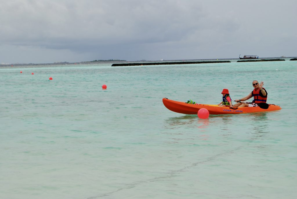 Mr Wanderlust and Thing 1 in a kayak in the Maldives - trip of a lifetime