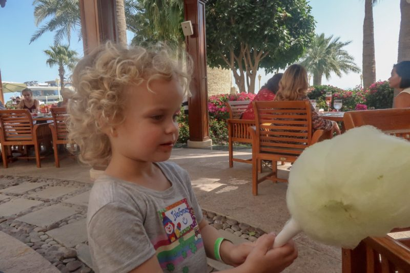 kids at expat brunch - Thing 2 with candy floss