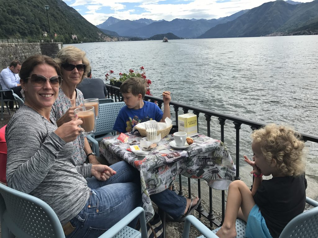 "Villa Holiday - Me and Granny Wanderlust ""sharing"" croissants with the Things in Lake Como"