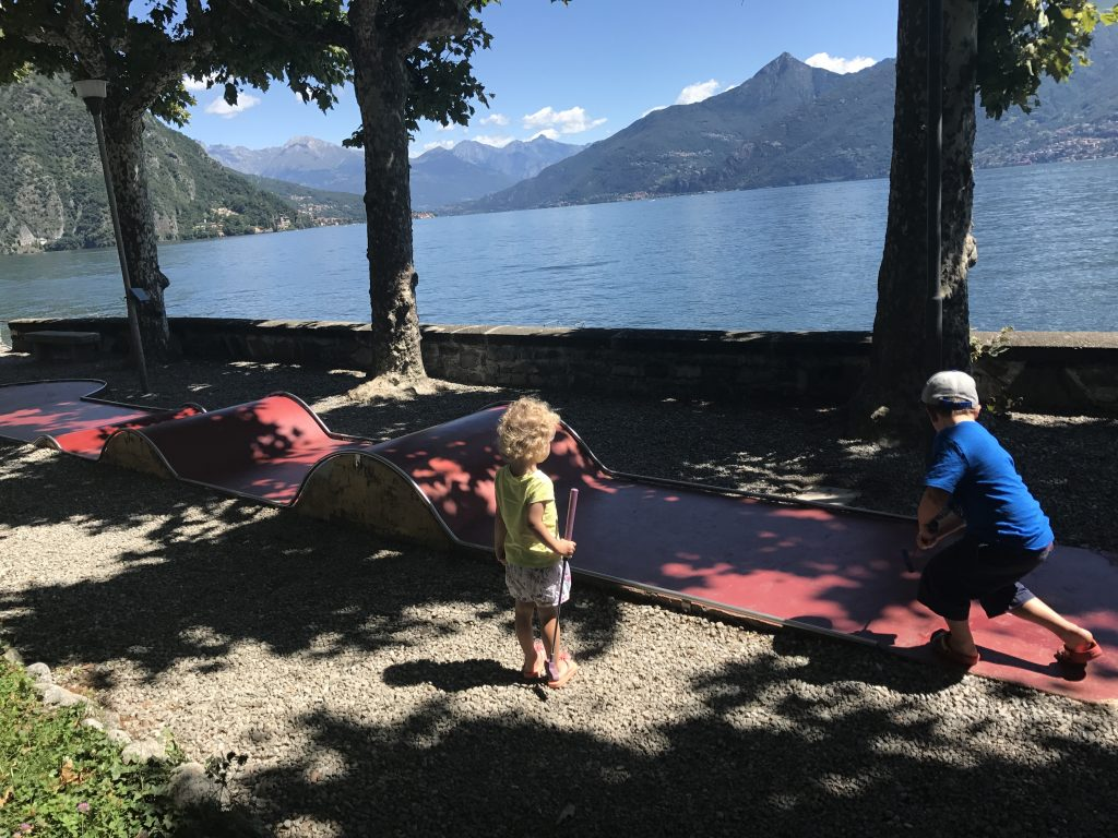 How to have an epic family holiday - the Things playing crazy golf in Lake Como
