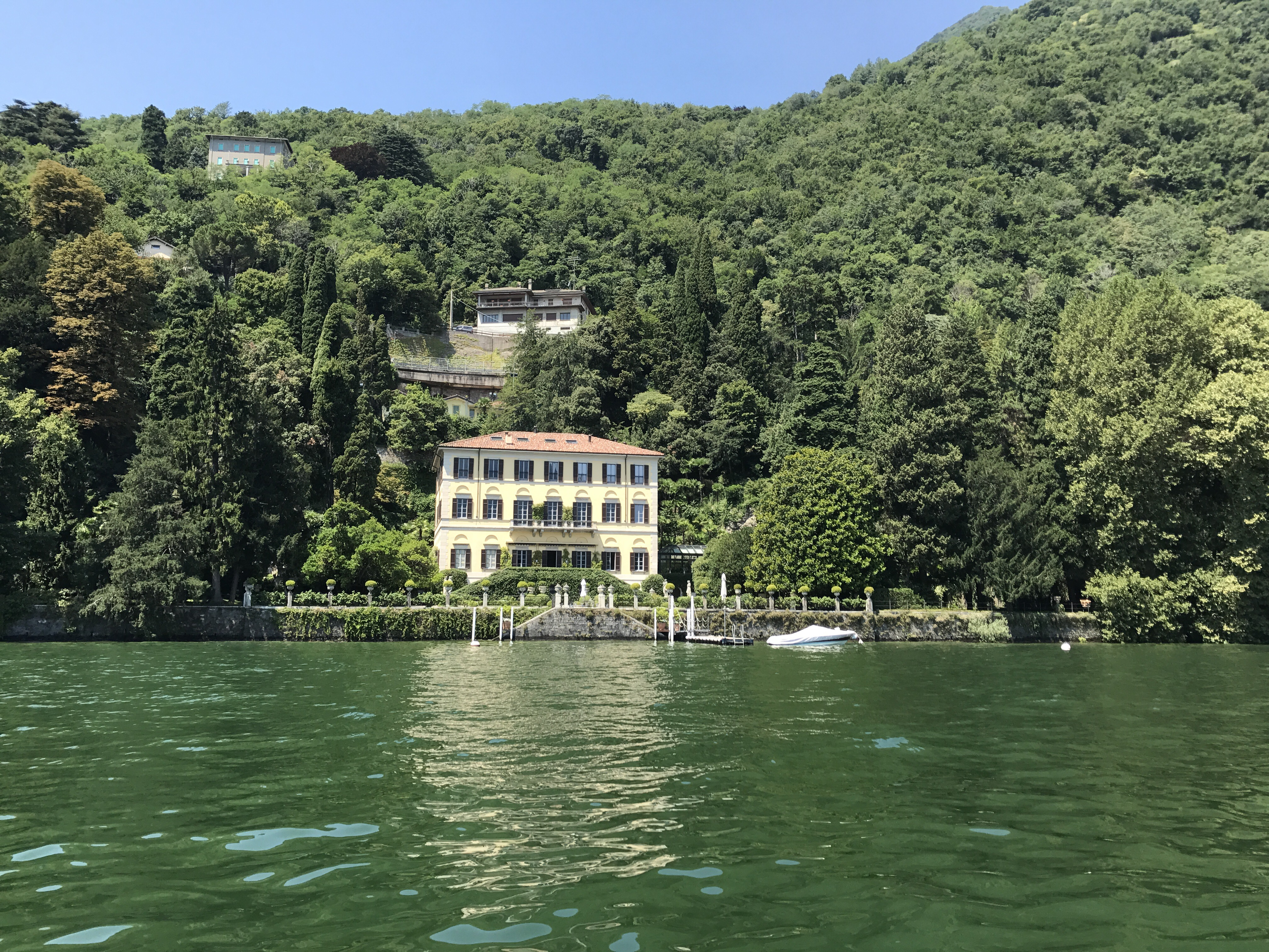 One of the stunning villas on the lake