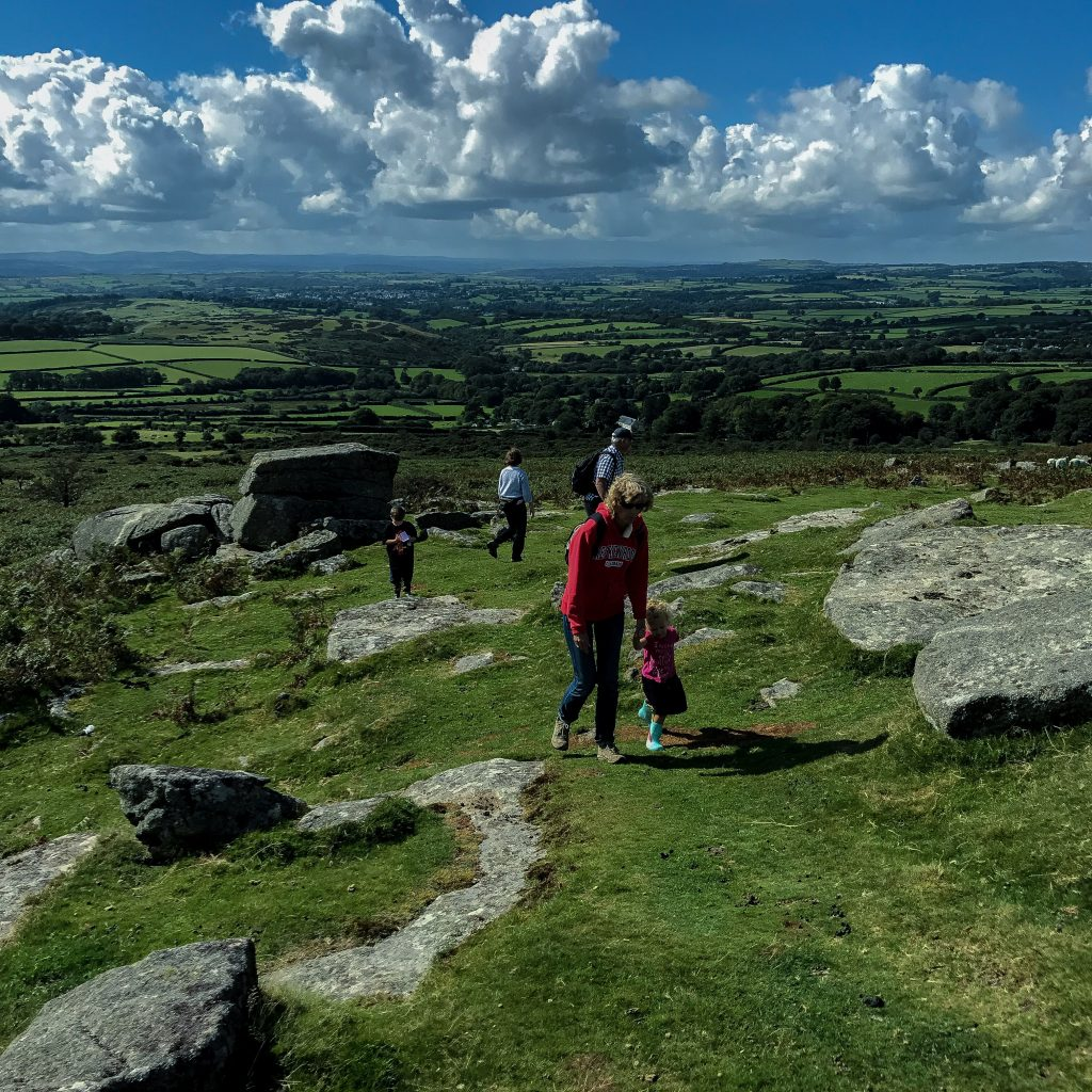 The Things walking up a Tor on Dartmoor with my uncle and aunts and Granny Wanderlust - trip of a lifetime