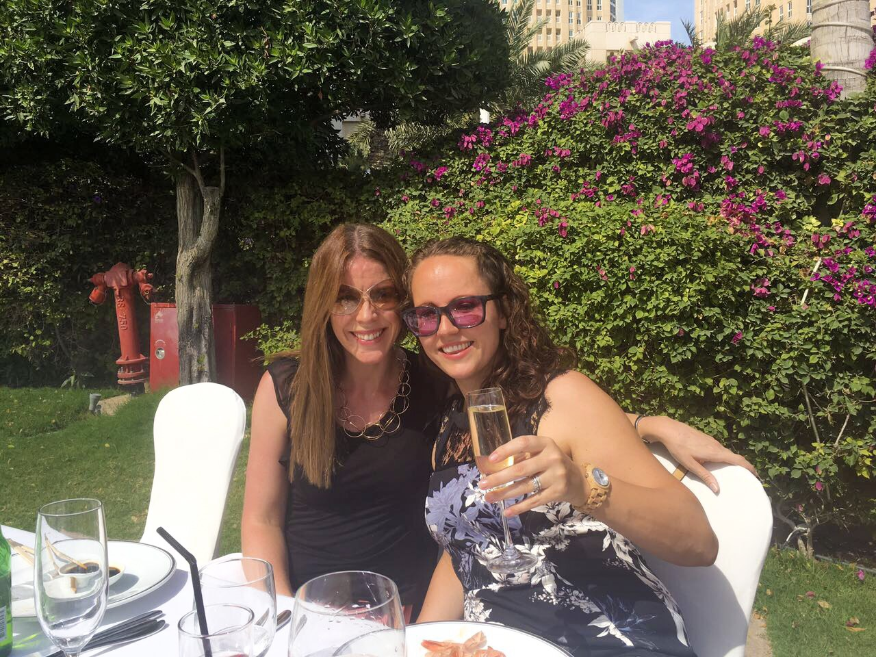 Me and my friend Laura at a brunch in Doha