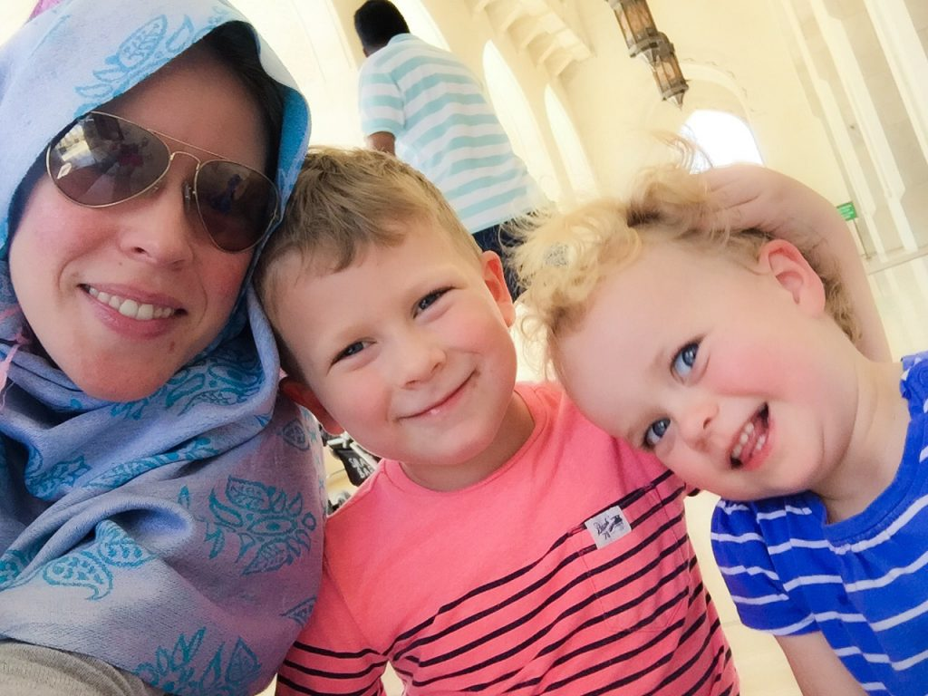 Easy Holidays - the Things and I outside the Grand Mosque in Muscat