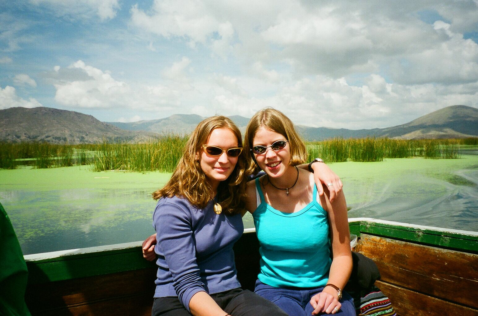 Me and my friend on a boat in Lake Titicaca