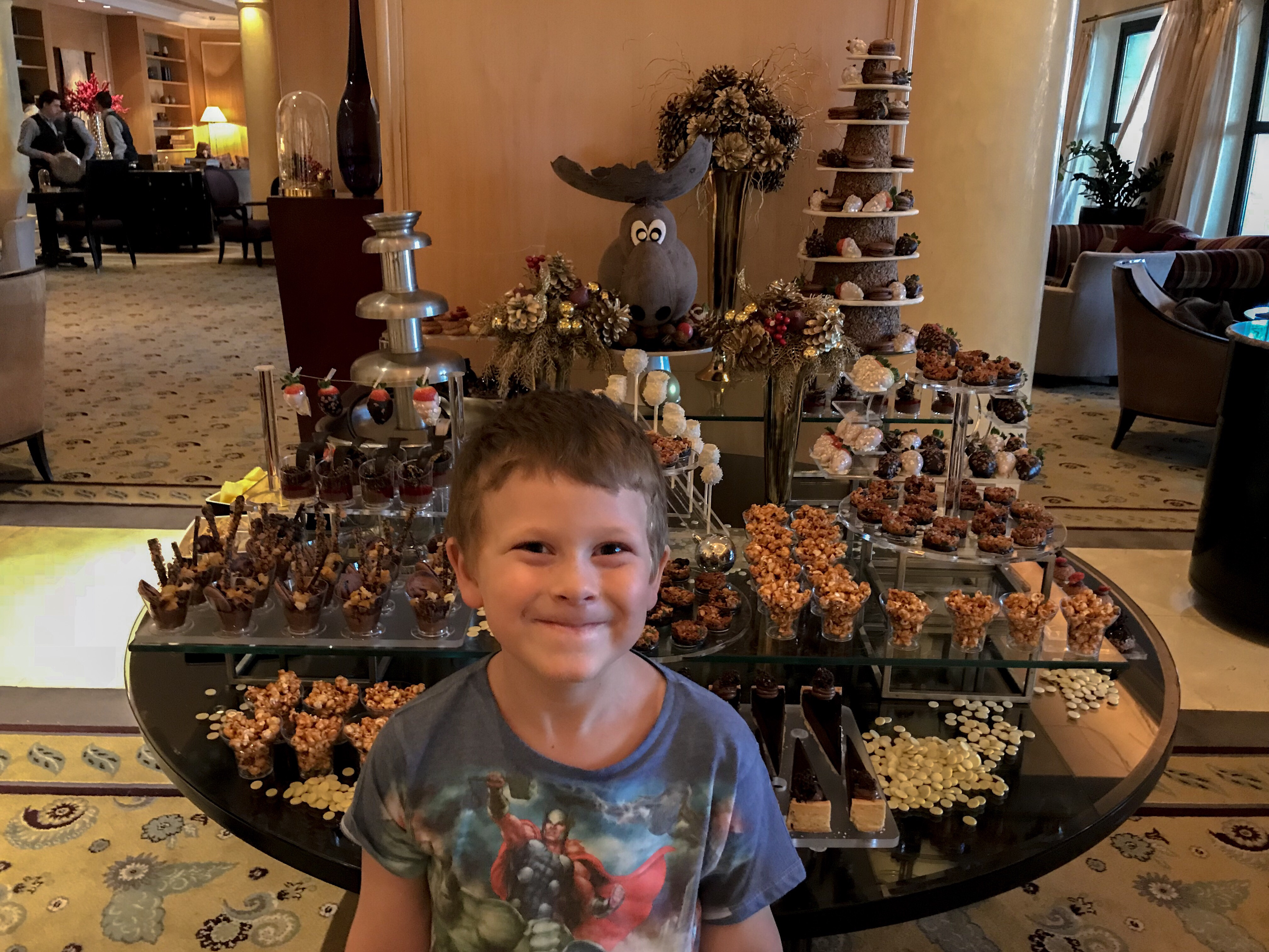 Chocolate display at the Four Seasons - Thing 1 was so excited!