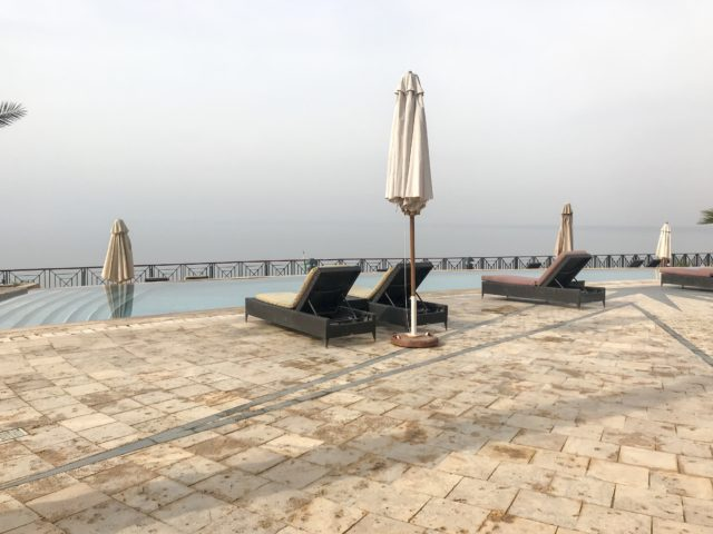 Jordan Adventures Part 2 - the Dead Sea. One of the many Movenpick swimming pools with loungers