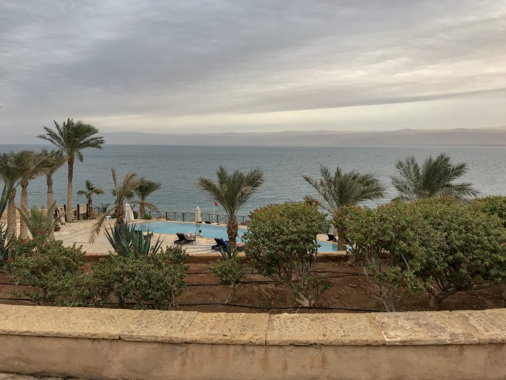 Jordan Itineraries - the Dead Sea. View from Movenpick over swimming pool and out to Dead Sea