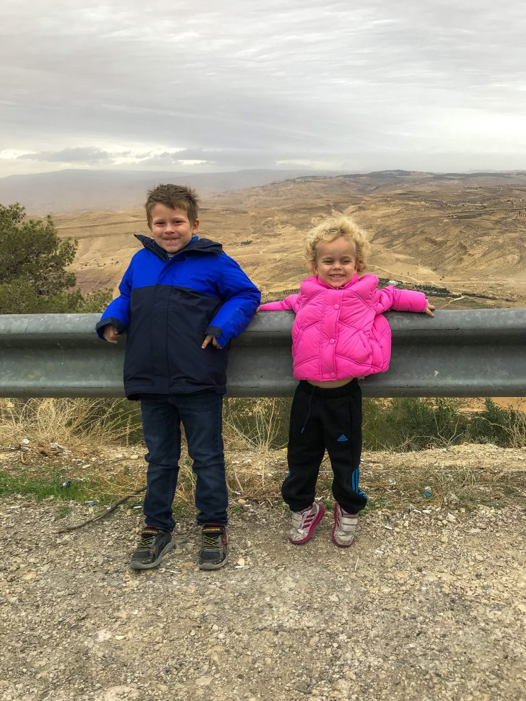 Thing 1 and Thing 2 at the top of Mount Nebo