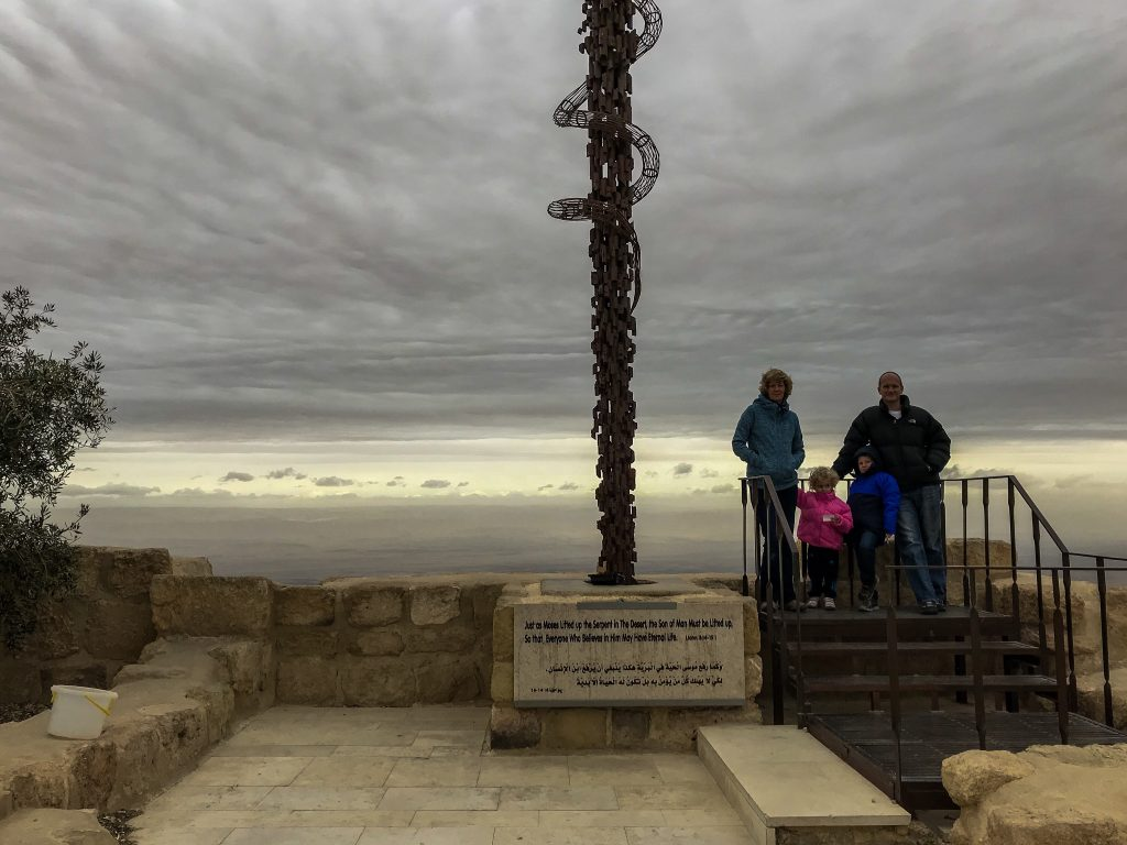Jordan itineraries - Granny and Mr Wanderlust with the Things at the top of Mount Nebo