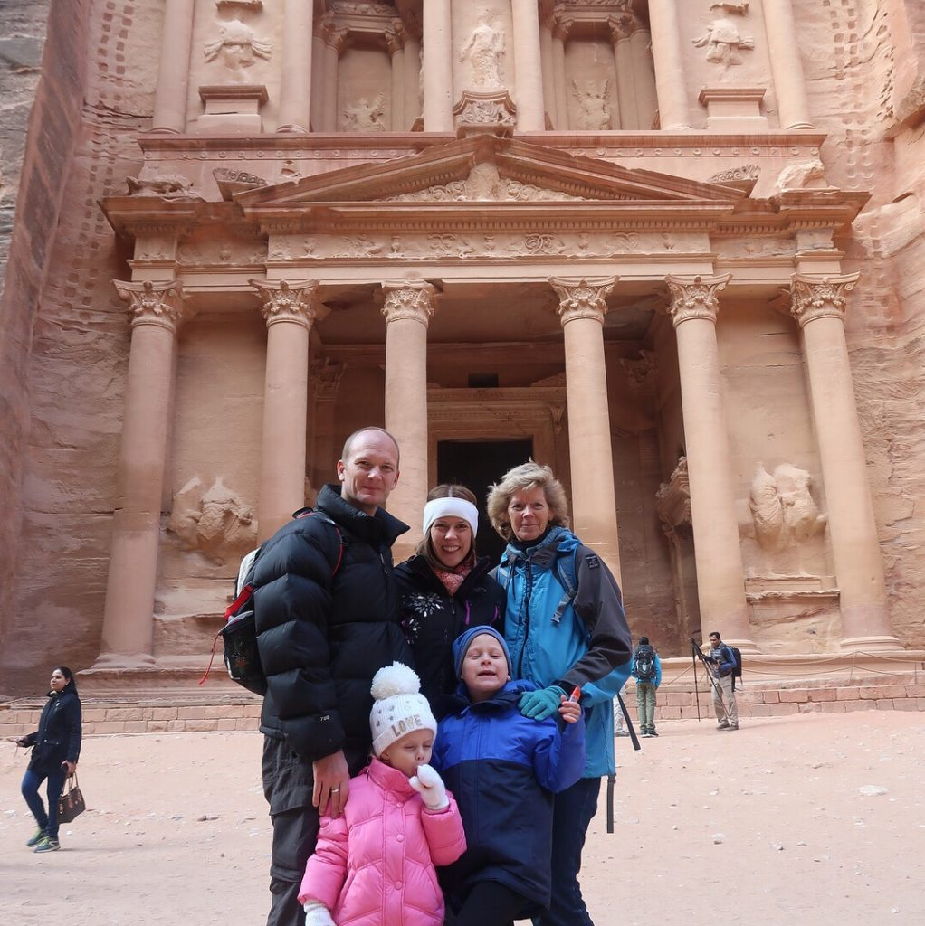 Jordan Itineraries - The Wanderlust Family in front of the Treasury in Petra